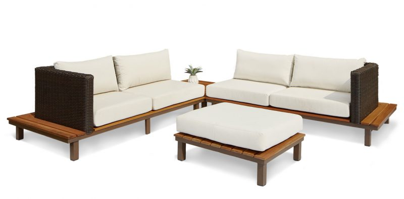 Bellona four seater sectional sofa with corner table