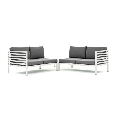 Origin high arm 38mm aluminium four seater sectional sofa with corner table