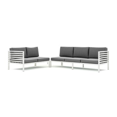 Origin high arm 38mm aluminium slatted five seater sectional sofa with corner table