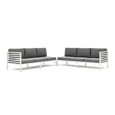 Origin high arm 38mm slatted aluminium six seater sectional sofa with corner table