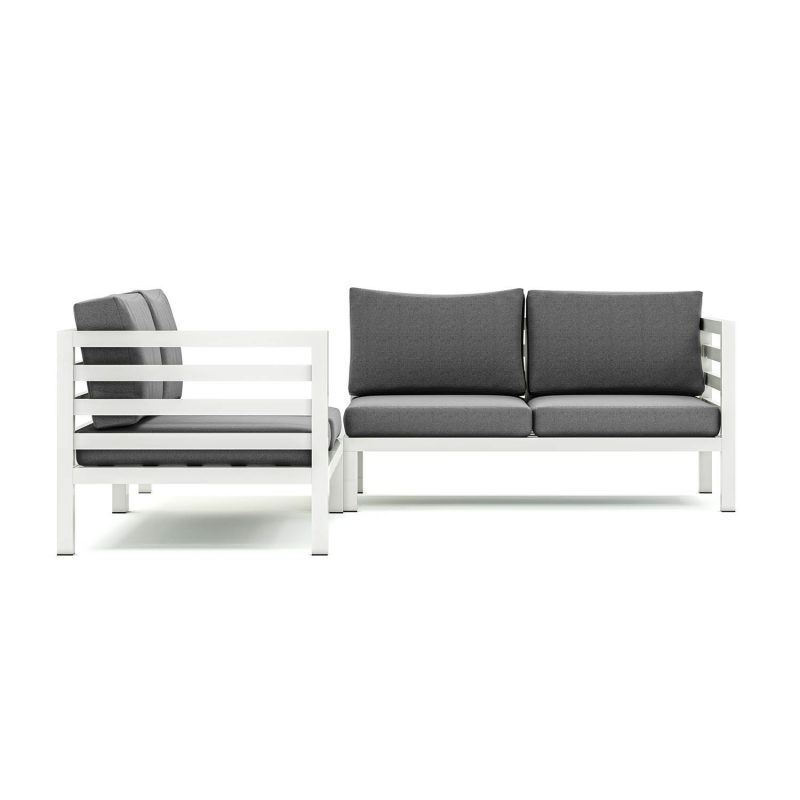 Origin high arm aluminium four seater sectional sofa with corner table