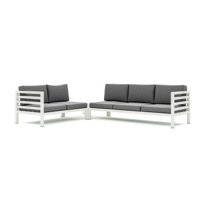 Origin high arm aluminium five seater sectional sofa with corner table