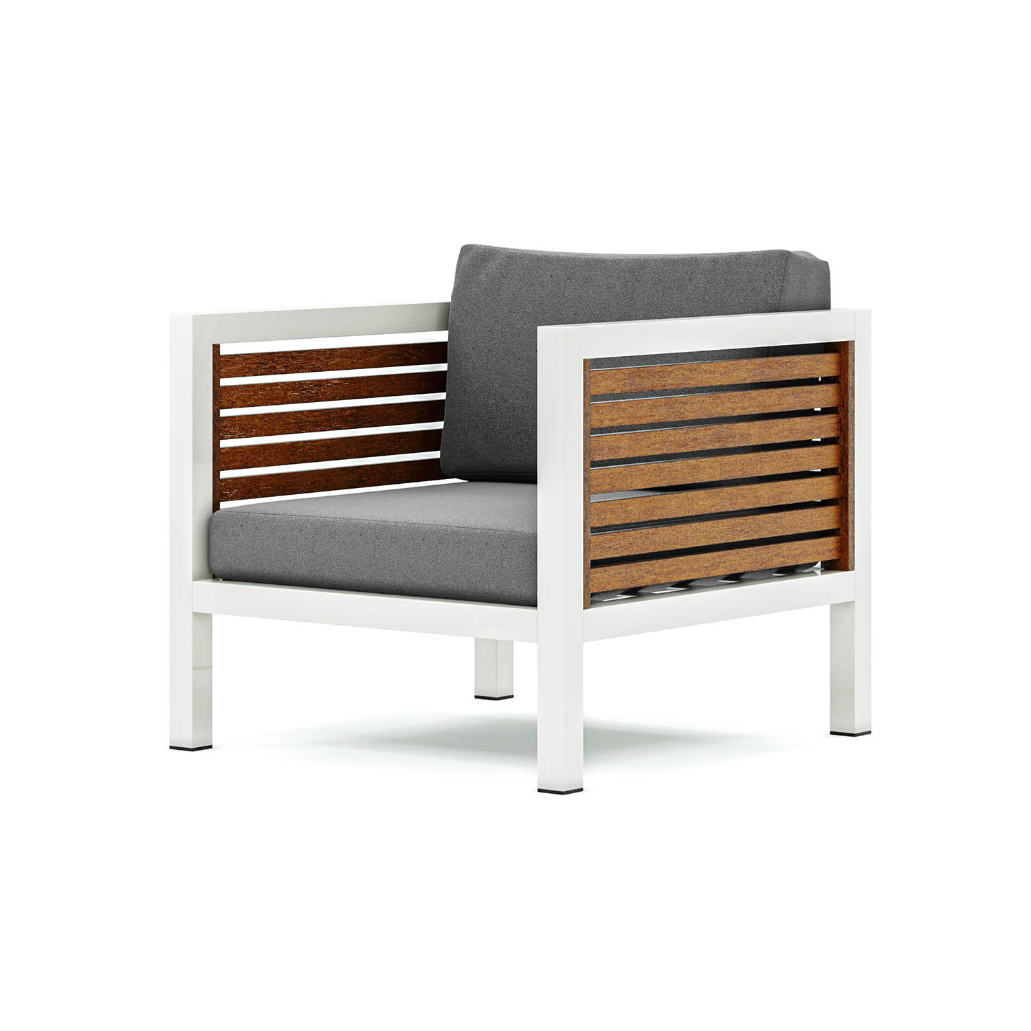 Origin high arm 38mm slatted timber one seater sofa