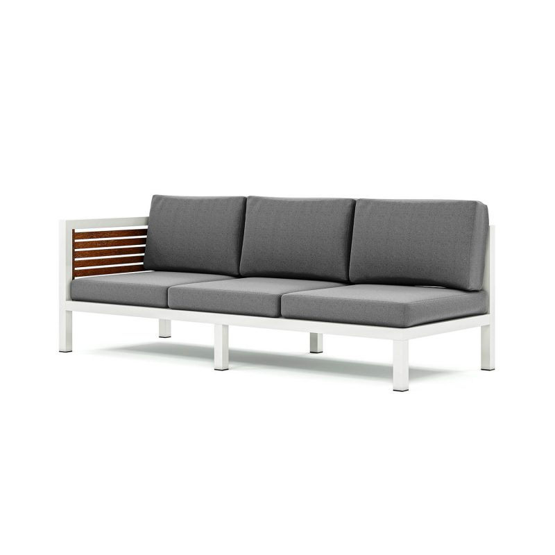 Origin high arm 38mm slatted timber three seater sectional sofa