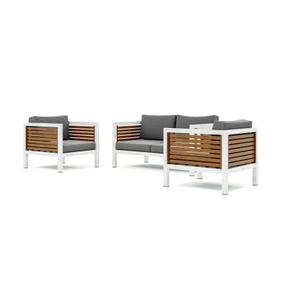 Origin high arm 38mm slatted timber four seater patio suite