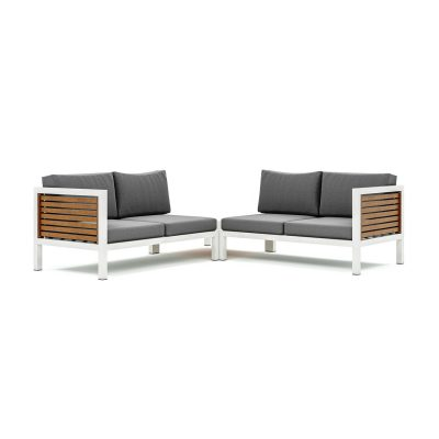 Origin high arm 38mm slatted timber four seater sectional sofa and corner table