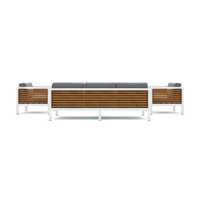 Origin high arm 38mm slatted timber five seater patio suite