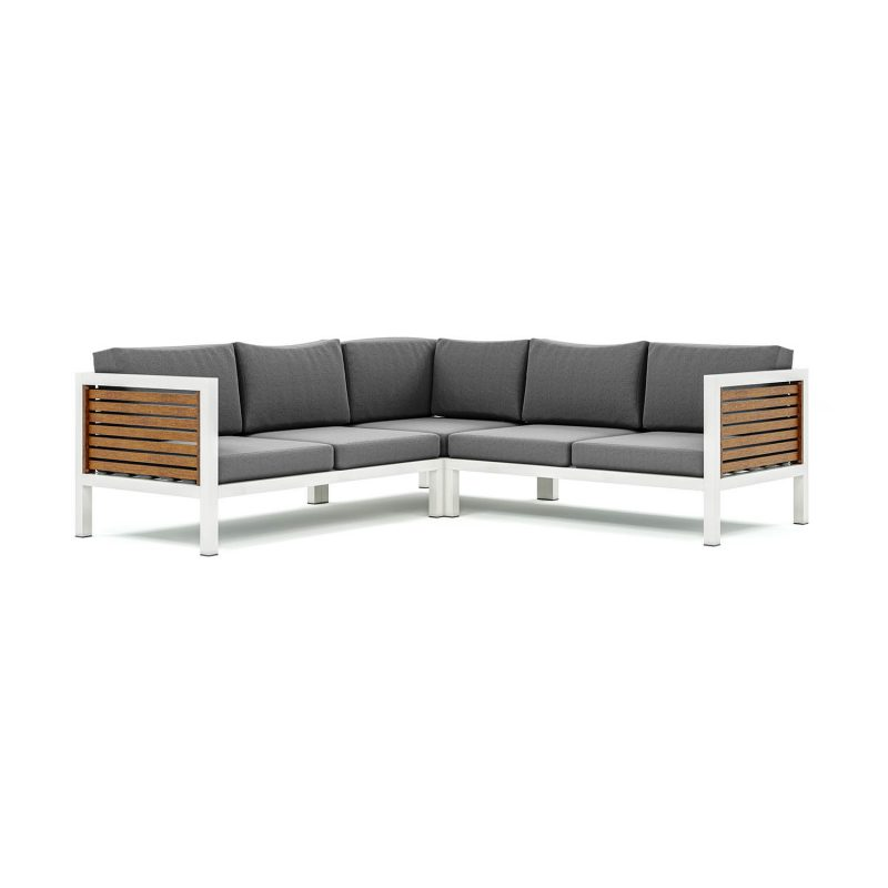 Origin high arm 38mm slatted timber five seater sectional sofa