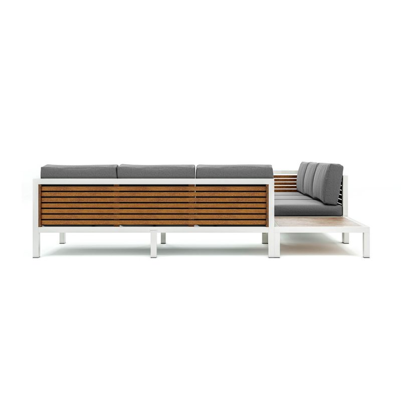 Origin high arm 38mm slatted timber six seater sectional sofa and corner table