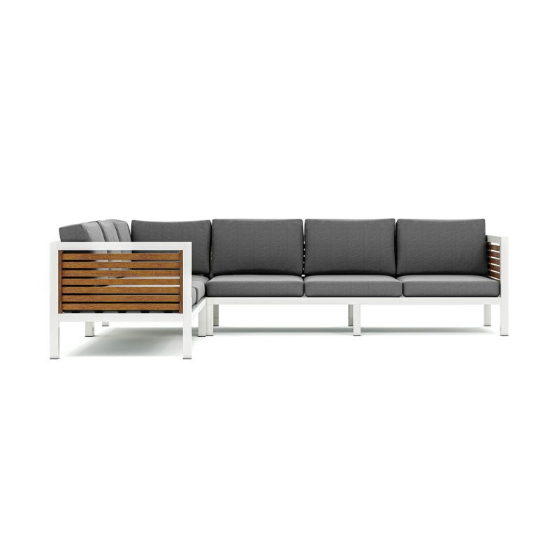 Origin high arm 38mm slatted timber six seater sectional sofa