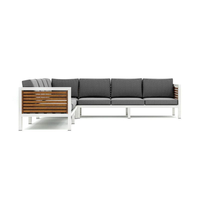 Origin high arm 38mm slatted timber seven seater sectional sofa