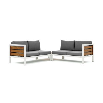 Origin high arm timber four seater sectional sofa with corner table