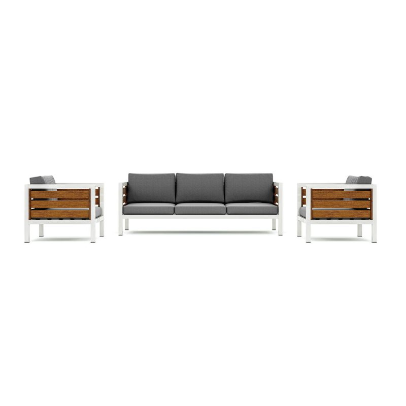 Origin high arm timber five seater patio suite