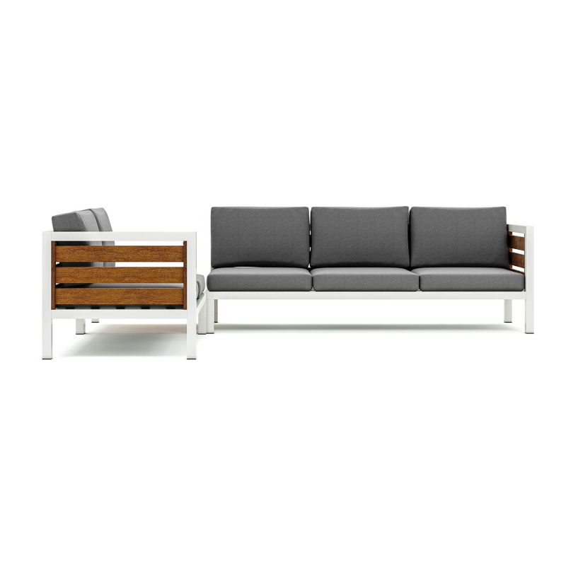 Origin high arm timber five seater sectional sofa with corner table