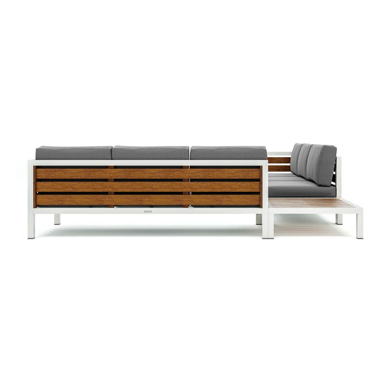 Origin high arm timber six seater sectional sofa with corner table