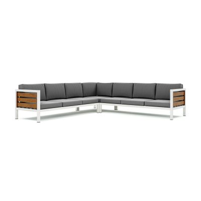 Origin high arm timber seven seater sectional sofa