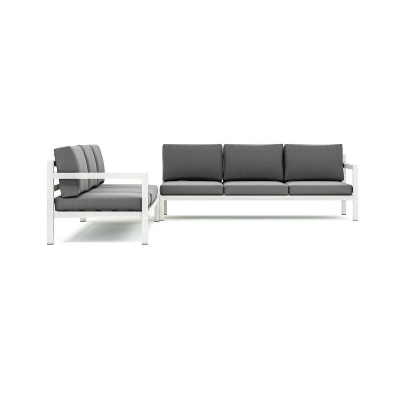 Origin low arm six seater sectional sofa with corner table