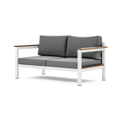 Origin low arm timber two seater sofa