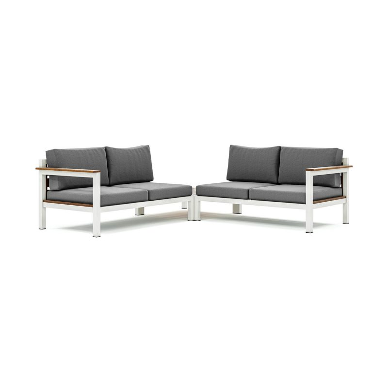 Origin low arm timber four seater sectional sofa with corner table