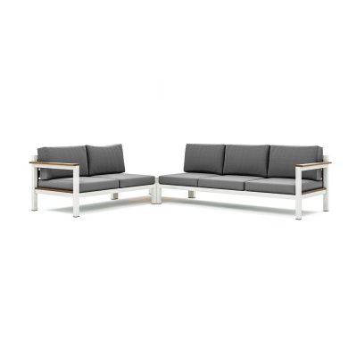 Origin low arm timber five seater sectional sofa and table