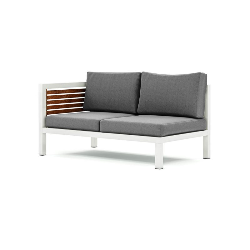 Origin high arm 38mm slatted timber two seater sectional sofa